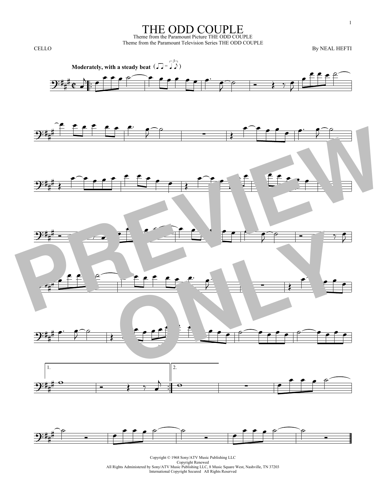 Sammy Cahn The Odd Couple sheet music notes and chords. Download Printable PDF.