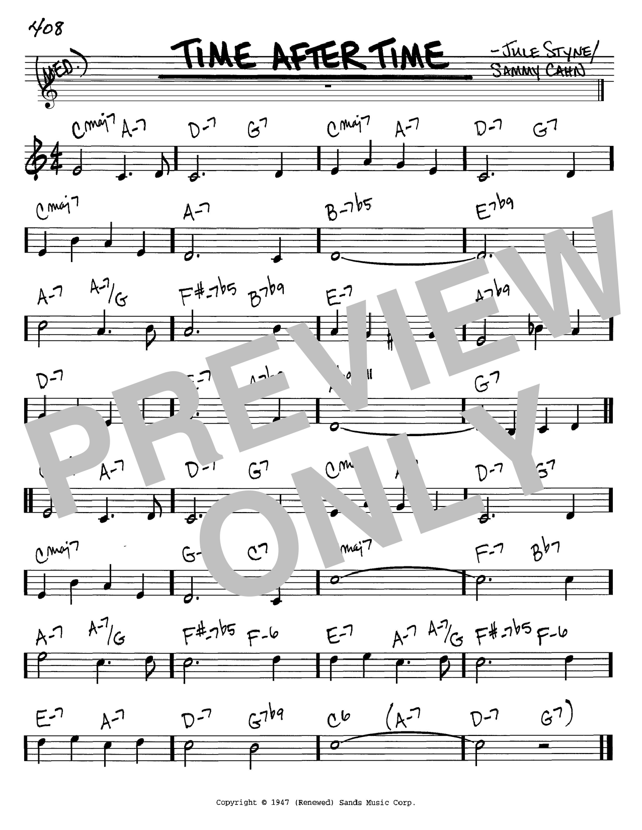 Sammy Cahn Time After Time sheet music notes and chords. Download Printable PDF.