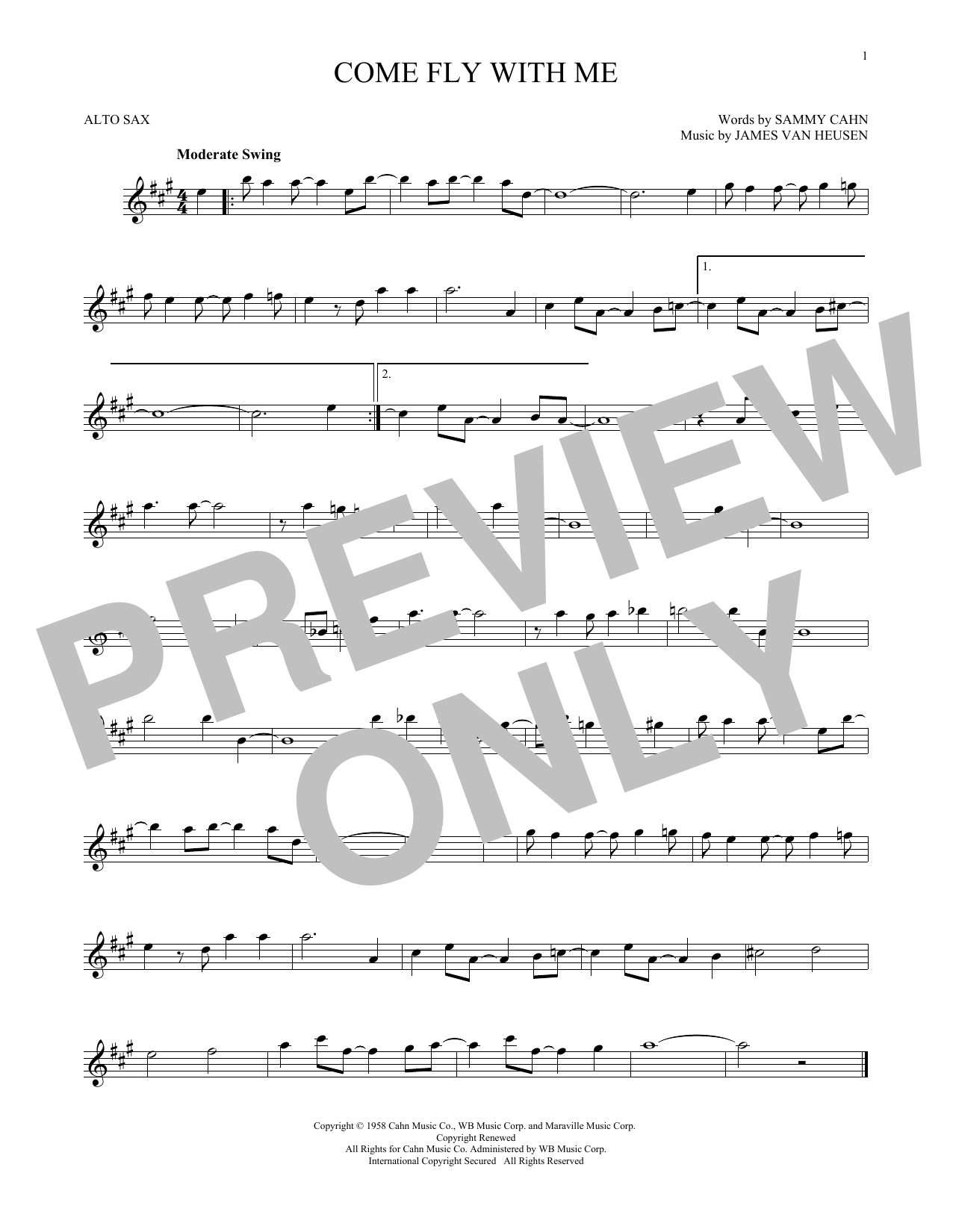 Frank Sinatra Come Fly With Me sheet music notes and chords. Download Printable PDF.