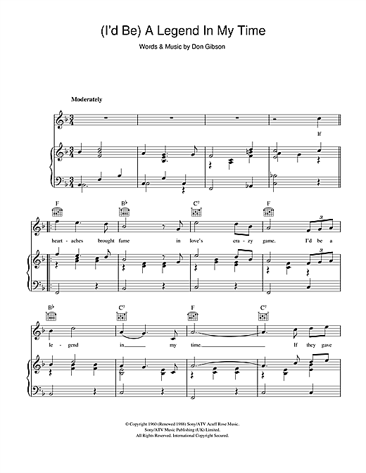 Sammy Davis Jr. (I'd Be) A Legend In My Time sheet music notes and chords. Download Printable PDF.