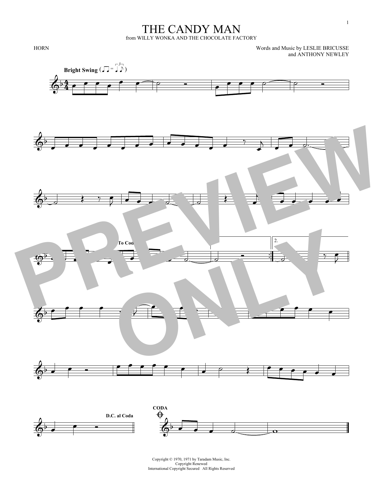 Sammy Davis Jr. The Candy Man sheet music notes and chords. Download Printable PDF.