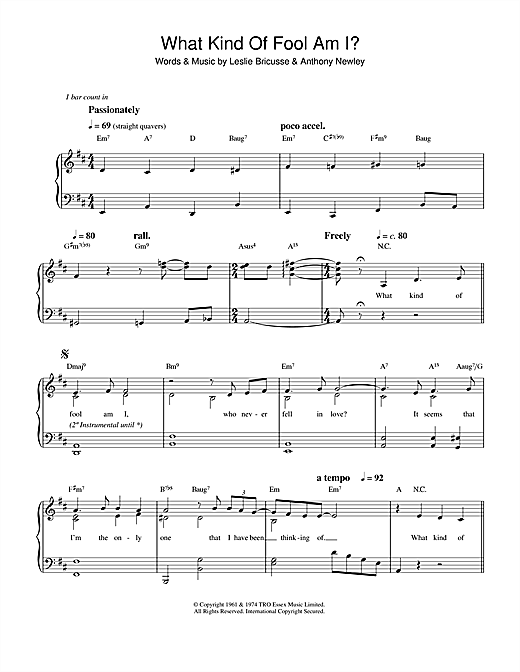 Sammy Davis Jr. What Kind Of Fool Am I sheet music notes and chords. Download Printable PDF.