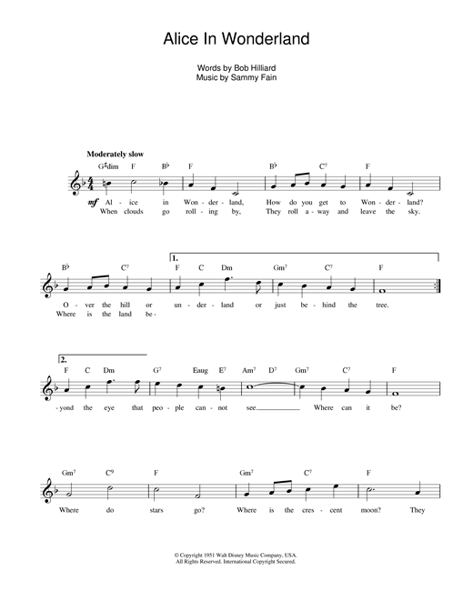 Sammy Fain Alice In Wonderland sheet music notes and chords