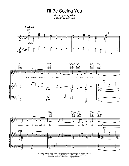 Sammy Fain I'll Be Seeing You sheet music notes and chords. Download Printable PDF.