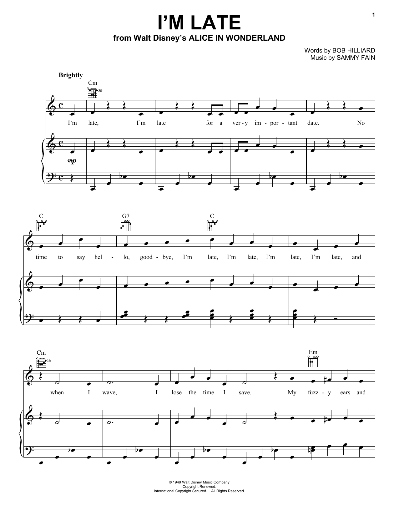 Sammy Fain I'm Late sheet music notes and chords. Download Printable PDF.