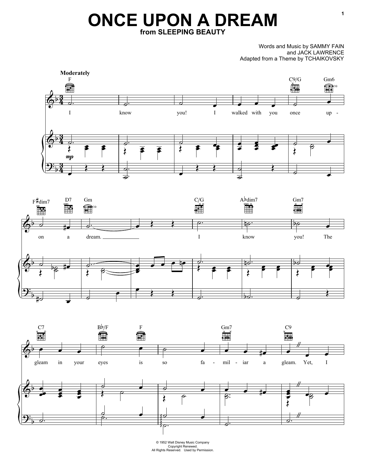 Sammy Fain Once Upon A Dream sheet music notes and chords. Download Printable PDF.
