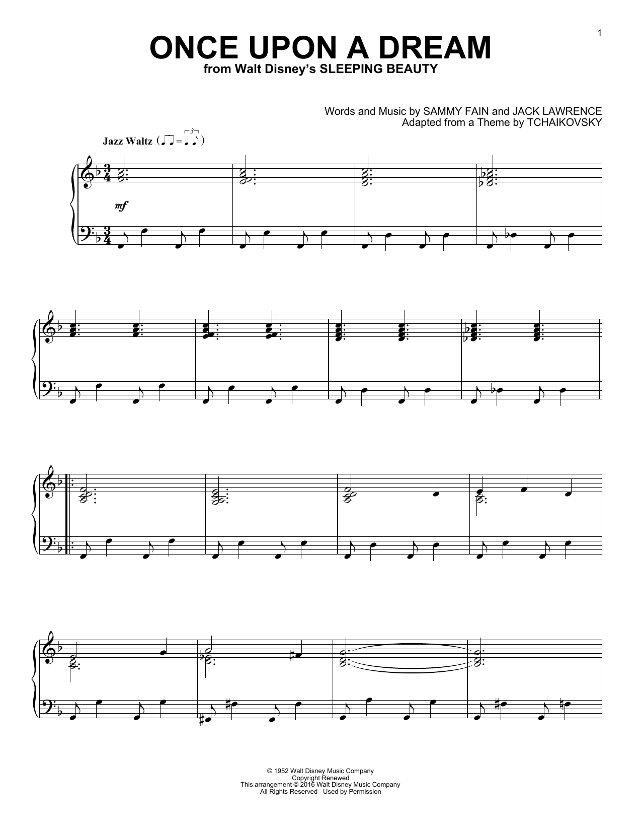 Sammy Fain Once Upon A Dream [Jazz version] sheet music notes and chords. Download Printable PDF.