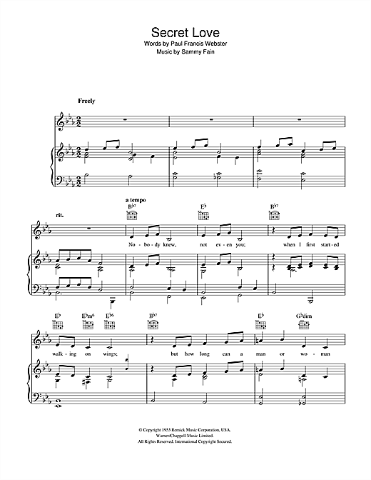 Sammy Fain Secret Love sheet music notes and chords. Download Printable PDF.