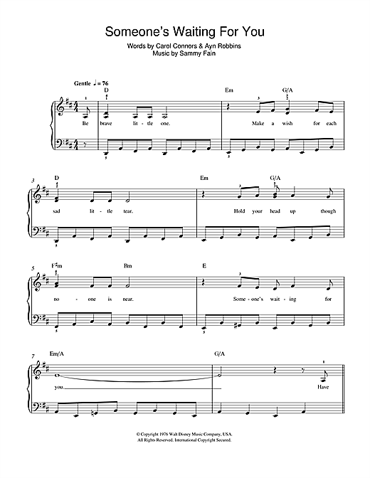 Sammy Fain Someone's Waiting For You (from Disney's The Rescuers) sheet music notes and chords. Download Printable PDF.
