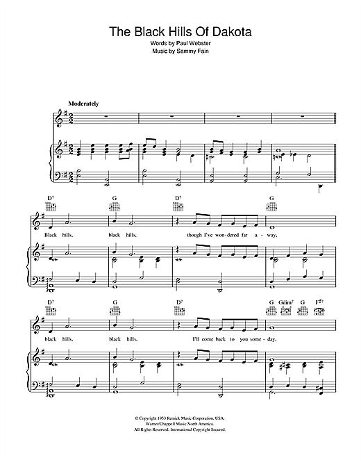 Sammy Fain The Black Hills Of Dakota sheet music notes and chords. Download Printable PDF.