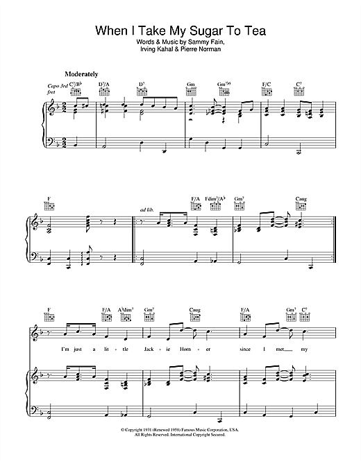 Sammy Fain When I Take My Sugar To Tea sheet music notes and chords. Download Printable PDF.