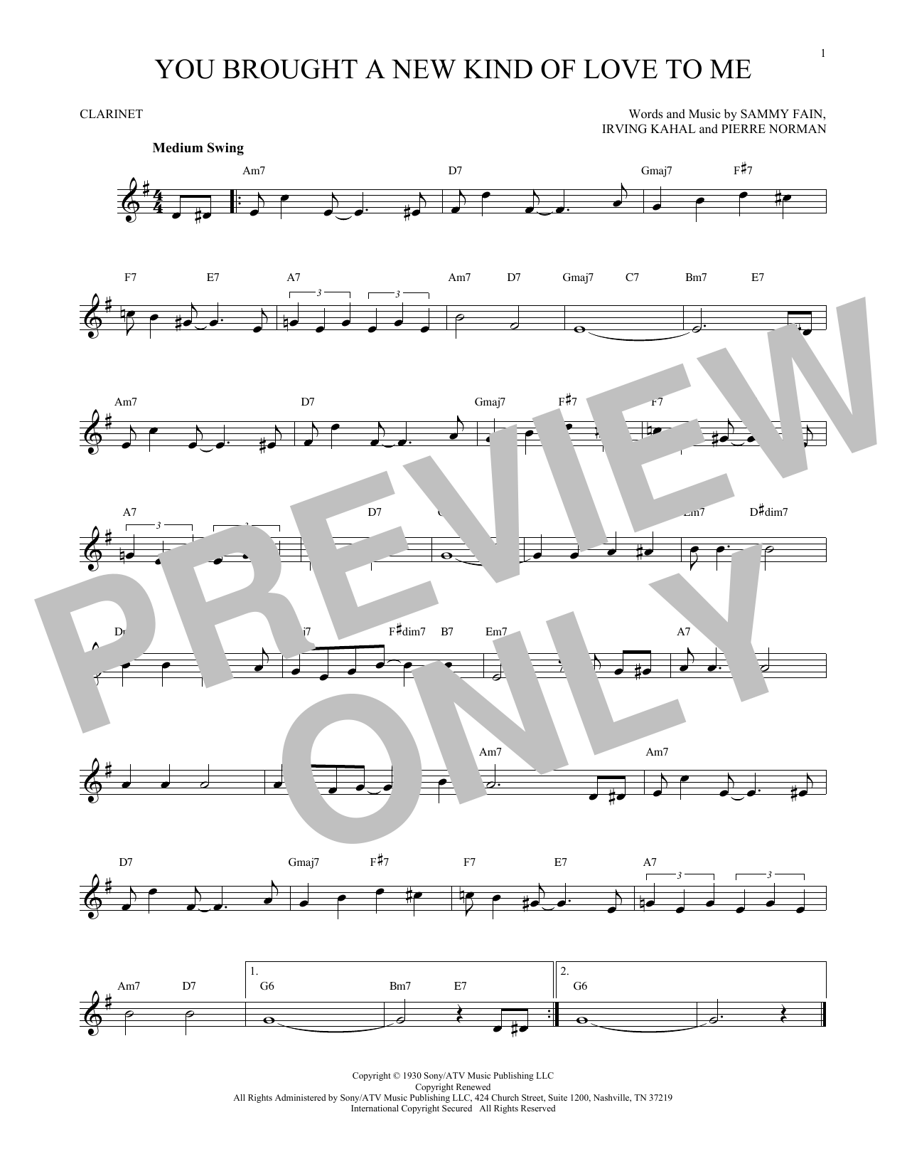Sammy Fain You Brought A New Kind Of Love To Me sheet music notes and chords. Download Printable PDF.