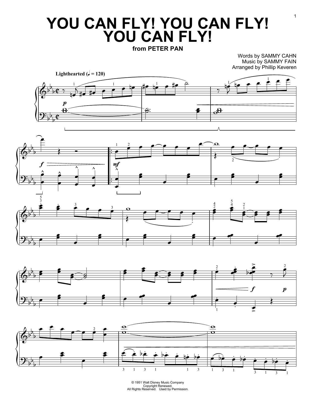 Sammy Fain You Can Fly! You Can Fly! You Can Fly! [Ragtime version] (arr. Phillip Keveren) sheet music notes and chords. Download Printable PDF.
