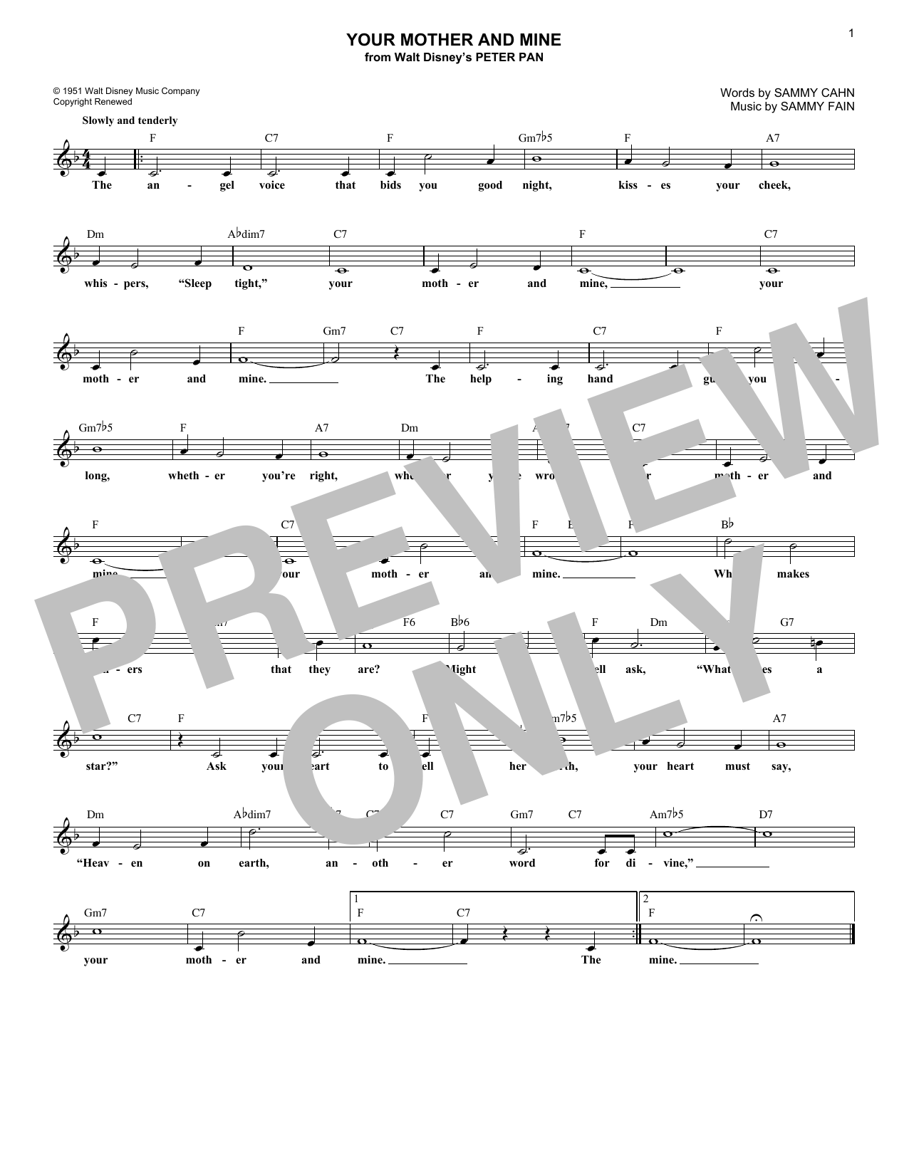 Sammy Fain Your Mother And Mine sheet music notes and chords. Download Printable PDF.