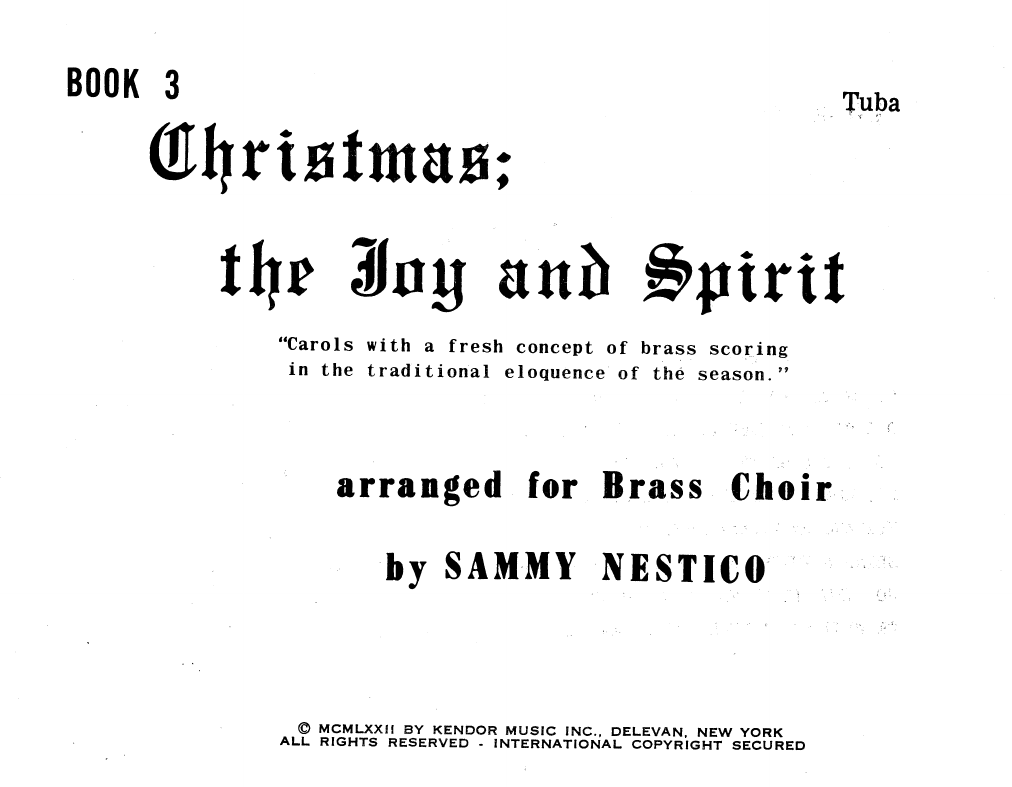 Sammy Nestico Christmas; The Joy & Spirit- Book 3/Tuba sheet music notes and chords