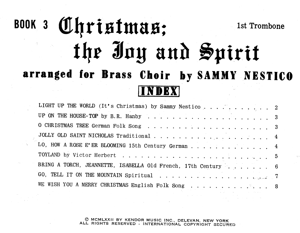 Sammy Nestico Christmas; The Joy & Spirit - Book 3/1st Trombone sheet music notes and chords. Download Printable PDF.