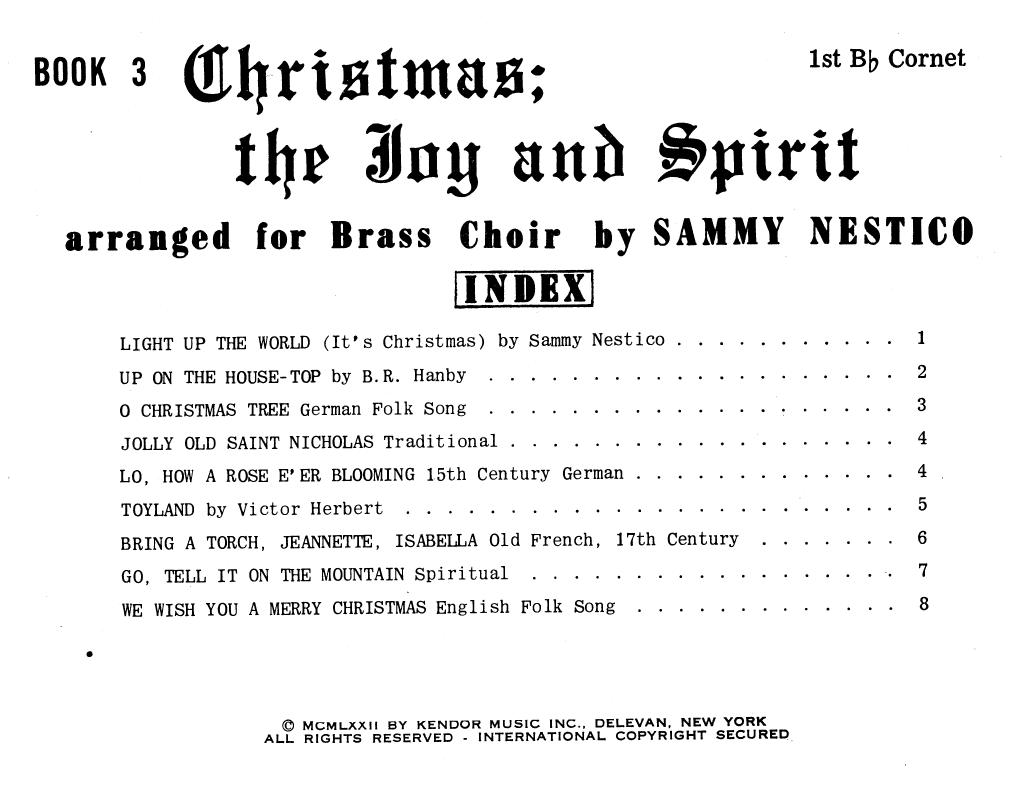 Sammy Nestico Christmas The Joy & Spirit - Book 3 - 1st Bb Cornet sheet music notes and chords. Download Printable PDF.