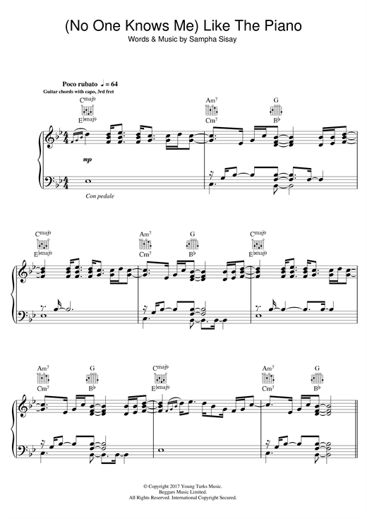 Sampha (No One Knows Me) Like The Piano sheet music notes and chords. Download Printable PDF.