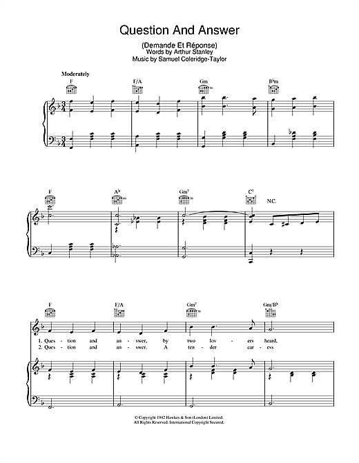 Samuel Coleridge-Taylor Question And Answer (Demande Et Reponse) sheet music notes and chords. Download Printable PDF.