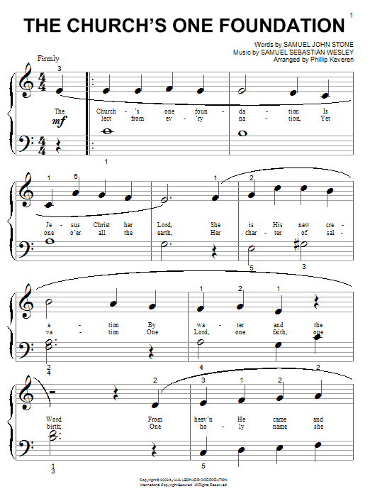 Samuel John Stone The Church's One Foundation sheet music notes and chords. Download Printable PDF.