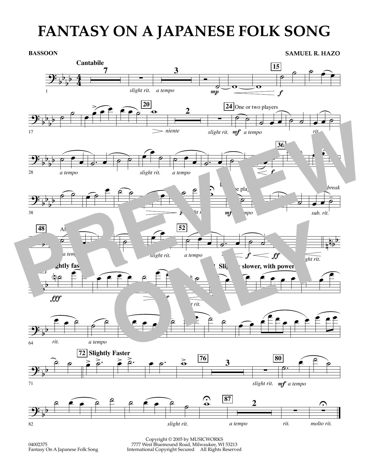 Samuel R. Hazo Fantasy On A Japanese Folk Song - Bassoon sheet music notes and chords. Download Printable PDF.