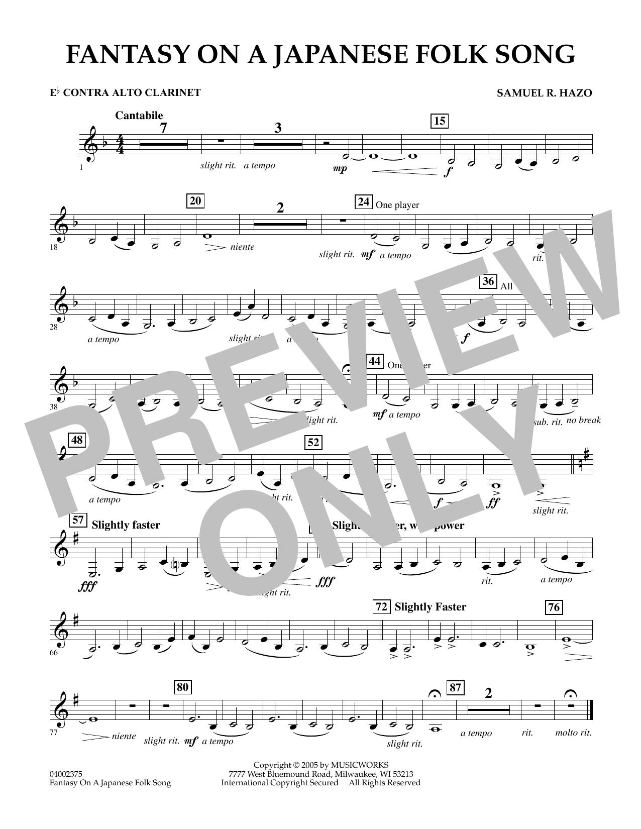 Samuel R. Hazo Fantasy On A Japanese Folk Song - Eb Contra Alto Clarinet sheet music notes and chords. Download Printable PDF.