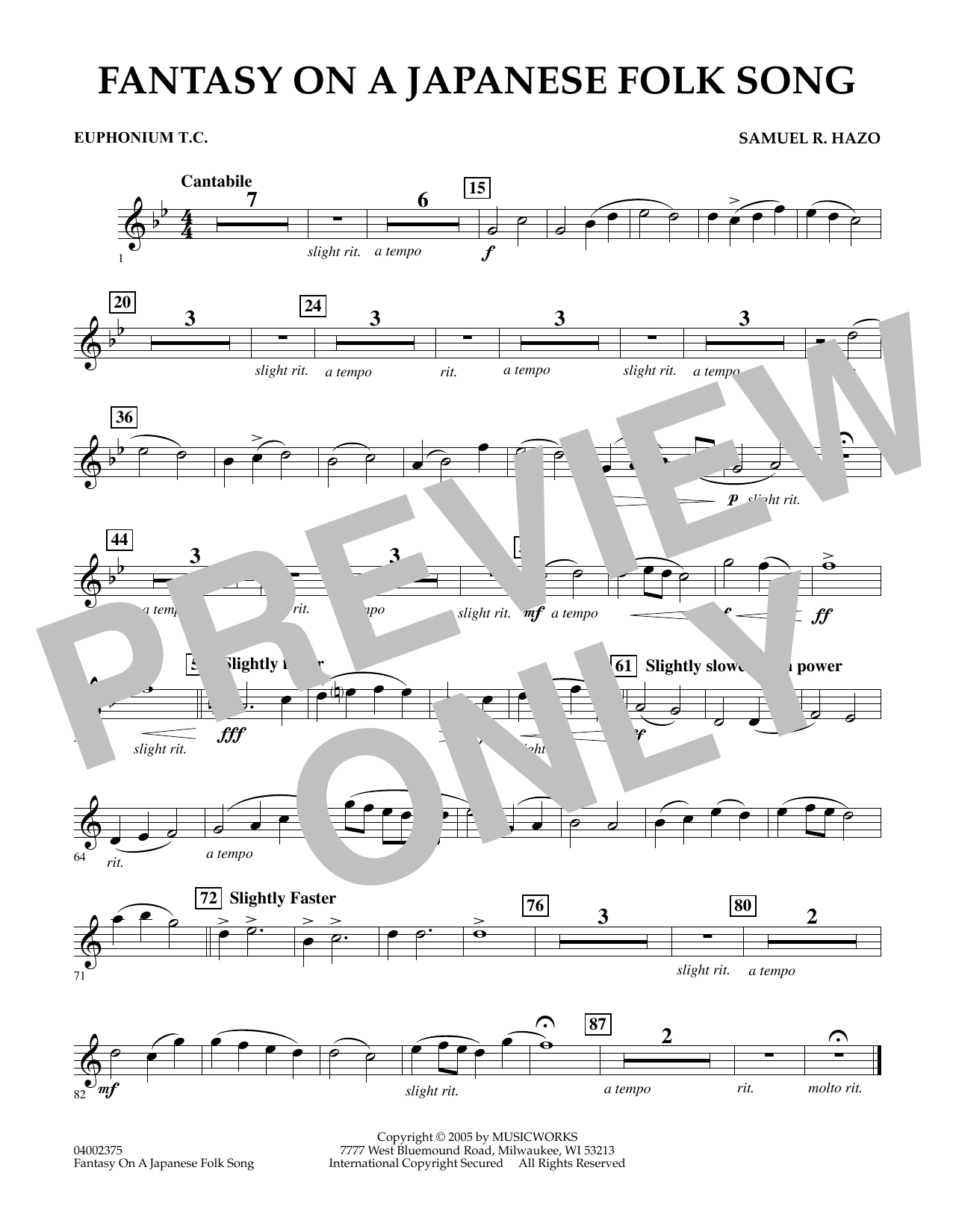 Samuel R. Hazo Fantasy On A Japanese Folk Song - Euphonium in Treble Clef sheet music notes and chords. Download Printable PDF.