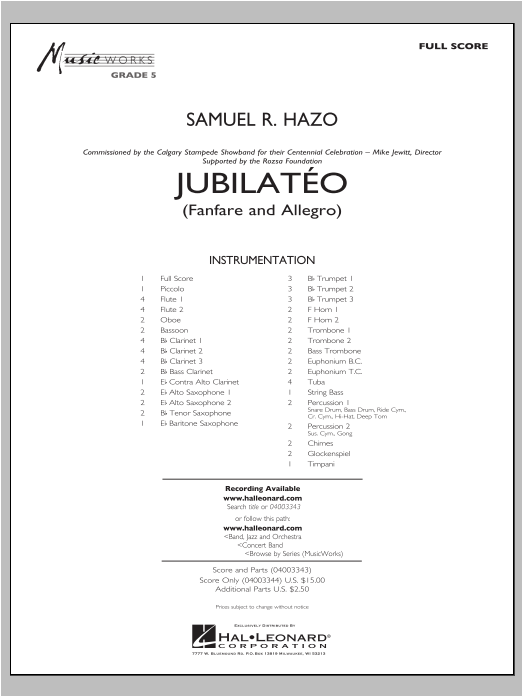 Samuel R. Hazo Jubilateo - Conductor Score (Full Score) sheet music notes and chords. Download Printable PDF.