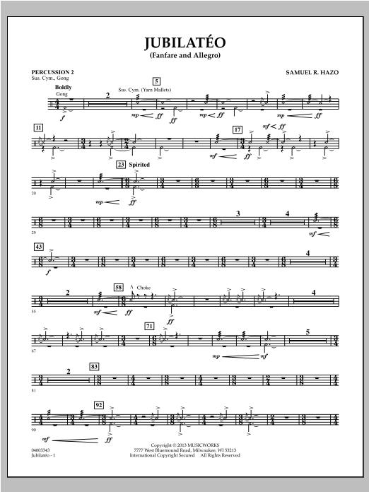 Samuel R. Hazo Jubilateo - Percussion 2 sheet music notes and chords. Download Printable PDF.