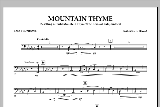 Samuel R. Hazo Mountain Thyme - Bass Trombone sheet music notes and chords. Download Printable PDF.
