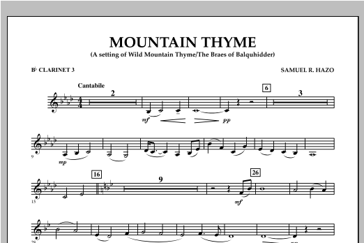 Samuel R. Hazo Mountain Thyme - Bb Clarinet 3 sheet music notes and chords. Download Printable PDF.