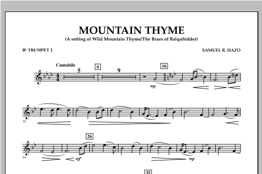 Samuel R. Hazo Mountain Thyme - Bb Trumpet 2 sheet music notes and chords. Download Printable PDF.