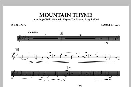 Samuel R. Hazo Mountain Thyme - Bb Trumpet 3 sheet music notes and chords. Download Printable PDF.
