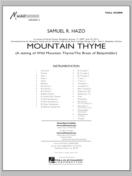 Samuel R. Hazo Mountain Thyme - Conductor Score (Full Score) sheet music notes and chords. Download Printable PDF.