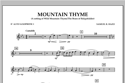 Samuel R. Hazo Mountain Thyme - Eb Alto Saxophone 1 sheet music notes and chords. Download Printable PDF.