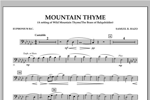 Samuel R. Hazo Mountain Thyme - Euphonium in Bass Clef sheet music notes and chords. Download Printable PDF.