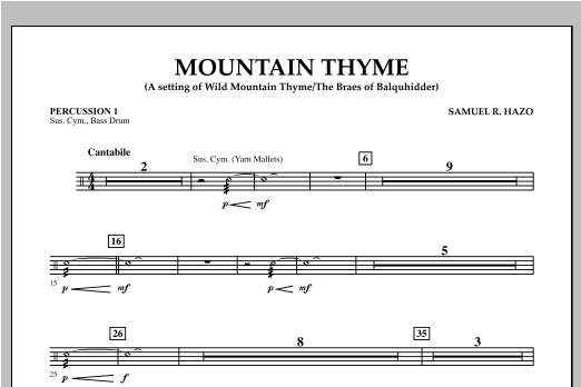 Samuel R. Hazo Mountain Thyme - Percussion 1 sheet music notes and chords. Download Printable PDF.