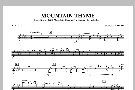 Samuel R. Hazo Mountain Thyme - Piccolo sheet music notes and chords. Download Printable PDF.