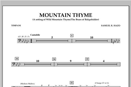 Samuel R. Hazo Mountain Thyme - Timpani sheet music notes and chords. Download Printable PDF.