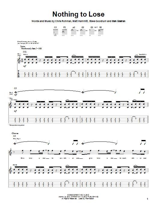 Sanctus Real Nothing To Lose sheet music notes and chords. Download Printable PDF.
