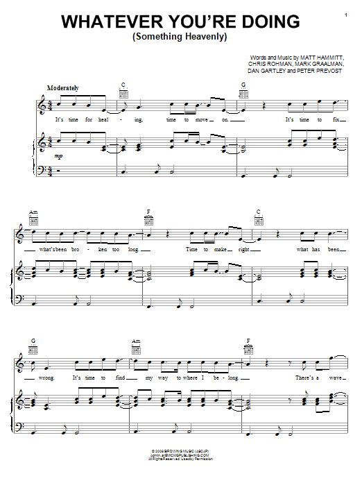 Sanctus Real Whatever You're Doing (Something Heavenly) sheet music notes and chords. Download Printable PDF.