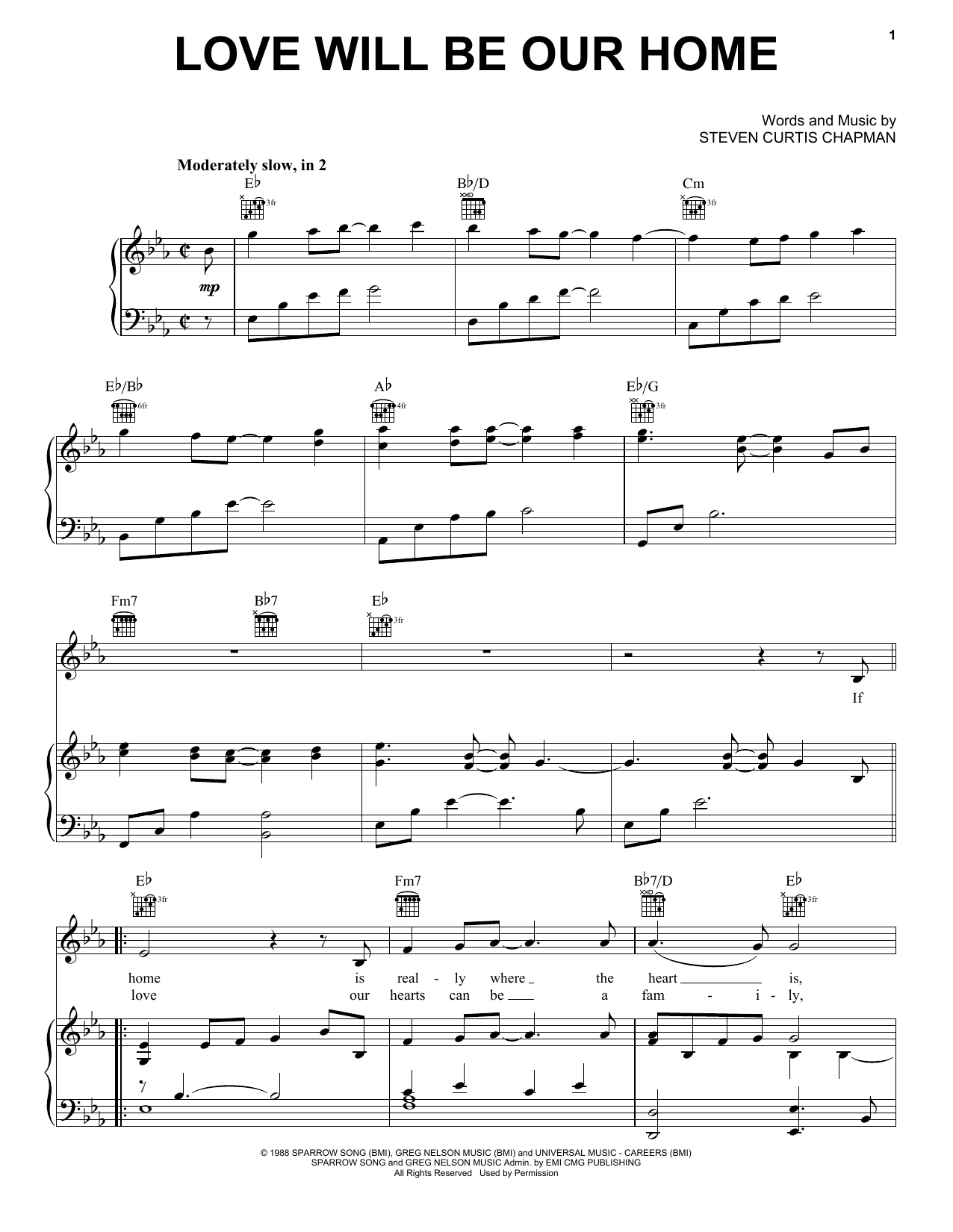 Sandi Patty Love Will Be Our Home sheet music notes and chords. Download Printable PDF.