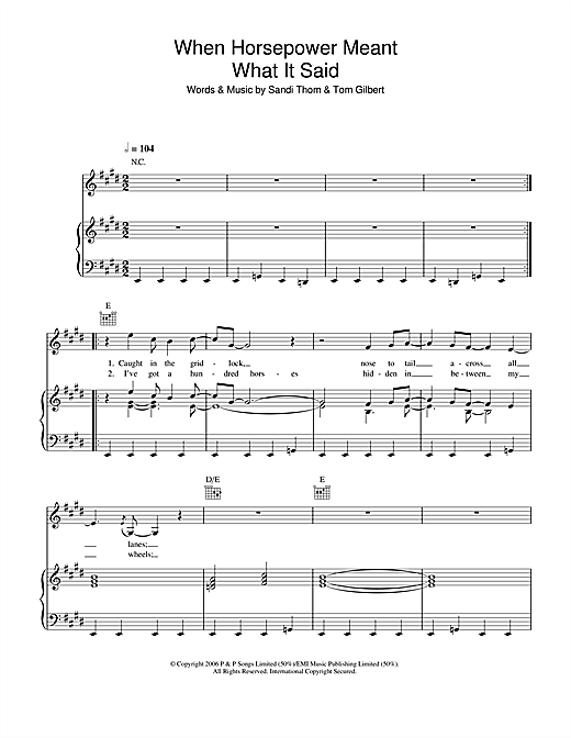 Sandi Thom When Horsepower Meant What It Said sheet music notes and chords. Download Printable PDF.
