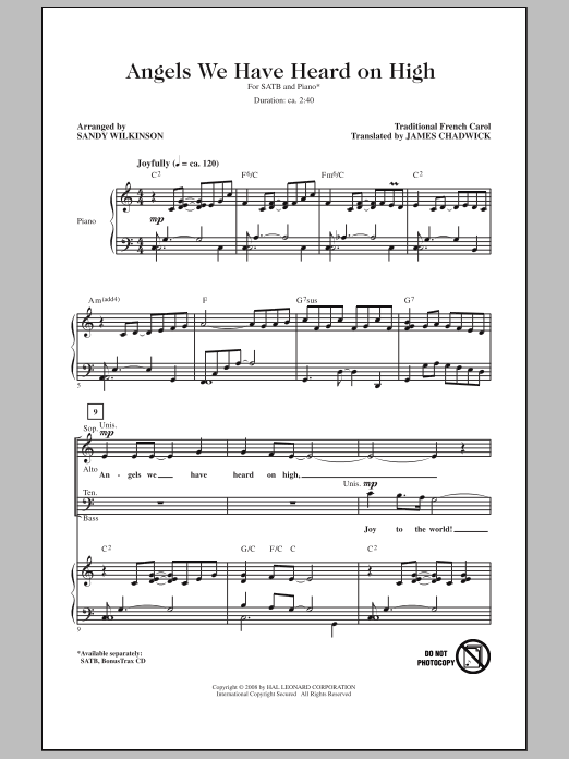 Sandy Wilkinson Angels We Have Heard On High sheet music notes and chords