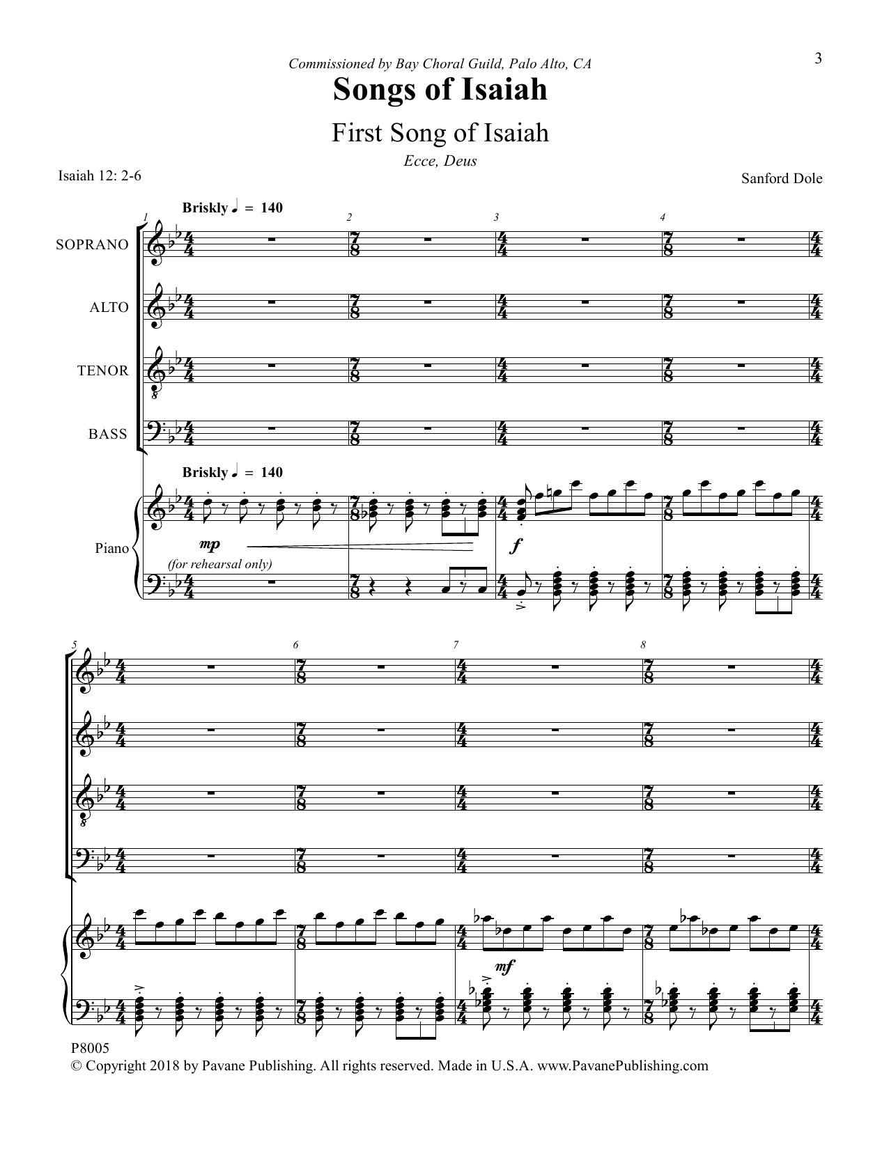 Sanford Dole Songs of Isaiah sheet music notes and chords. Download Printable PDF.