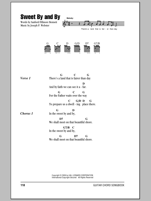 Sanford Fillmore Bennett Sweet By And By sheet music notes and chords. Download Printable PDF.