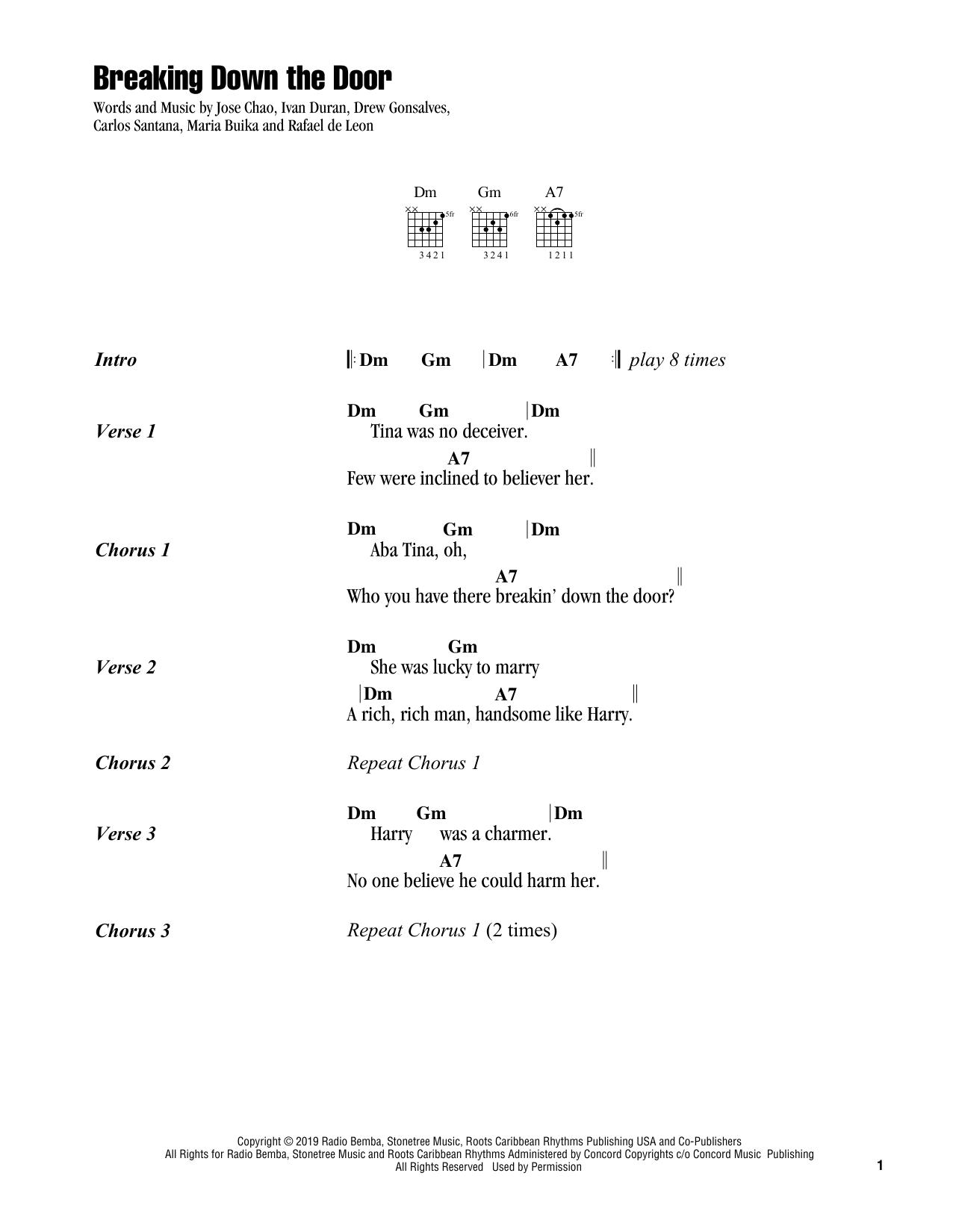 Santana Breaking Down The Door sheet music notes and chords. Download Printable PDF.