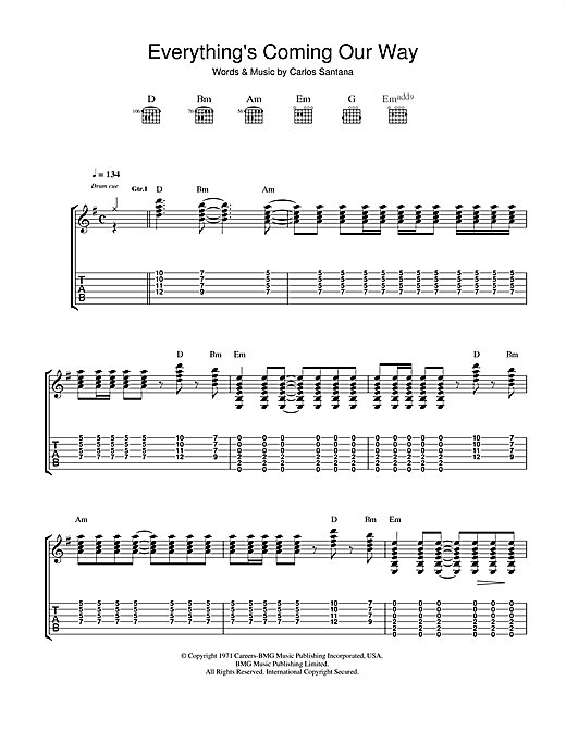 Santana Everything's Coming Our Way sheet music notes and chords. Download Printable PDF.