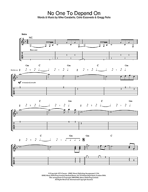 Santana No One To Depend On sheet music notes and chords. Download Printable PDF.