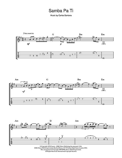 Santana Samba Pa Ti sheet music notes and chords